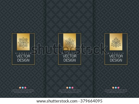 Vector set of templates packaging, labels and frames for packaging for luxury products in trendy linear style, banner,identity, branding,eamless pattern in trendy linear style, vector illustration - stock vector