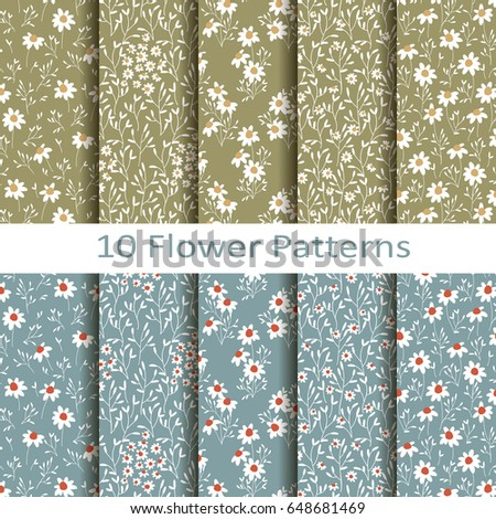 vector set of ten colorful flower patterns with daisies