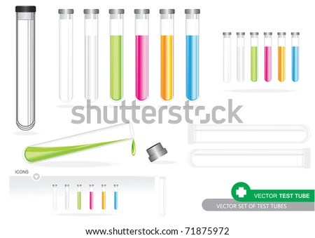 Vector Set Of Test Tubes - stock vector