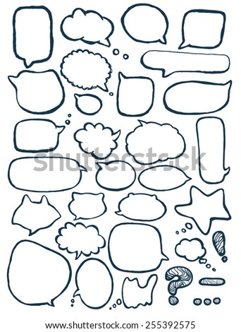 Vector set of text bubbles on white background. Message balloons design. - stock vector