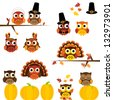 Vector Set of Thanksgiving Themed Owls - stock vector
