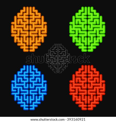 Vector set of the abstract human brains. - stock vector