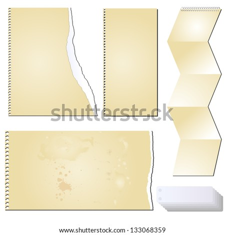 Vector set of the grunge scrapbooks tablets and papers