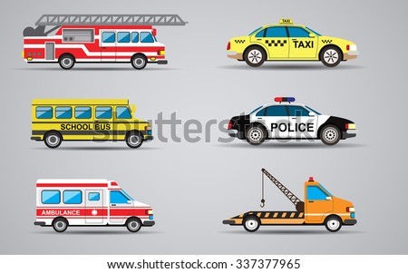 Vector set of the isolated transport icons. Fire truck, ambulance, police car, truck for transportation faulty cars, school bus, taxi. - stock vector