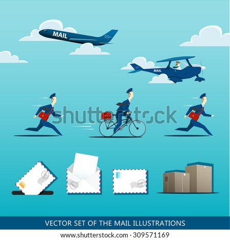Vector set of the mail illustrations with postman, air mail plane, envelops, letter and package - stock vector