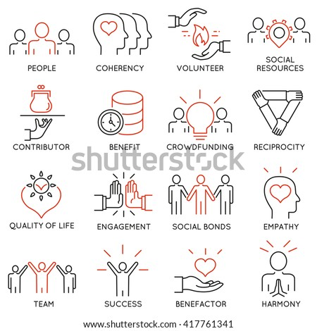 Vector set of 16 thin icons related to altruism, benevolence, human responsible and beneficence. Altruism, Benevolence Icons. Mono line pictograms and infographics design elements - part 2 - stock vector