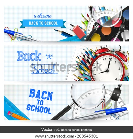 Vector set of three back to school banners - stock vector