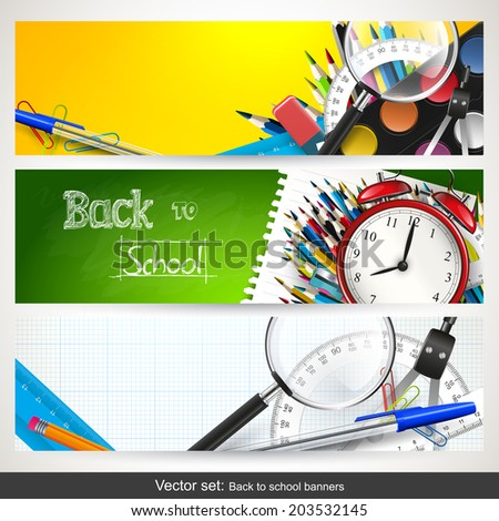 Vector set of three back to school horizontal banners  - stock vector