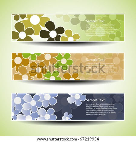Vector set of three banner designs with flowers - stock vector