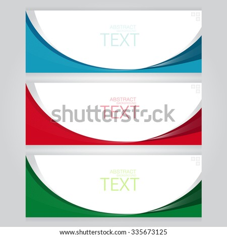 vector set of three banners abstract headers with blue red green - stock vector