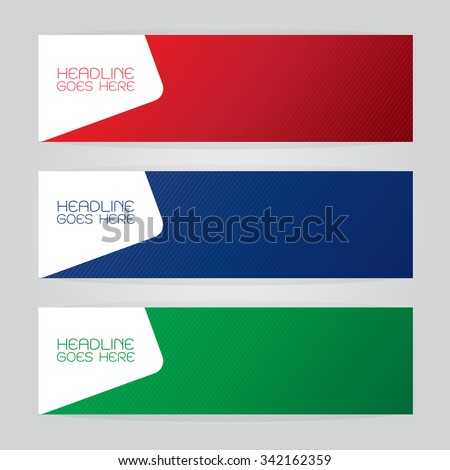 vector set of three banners abstract headers with colorful red green blue - stock vector