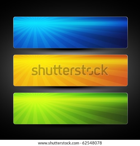 vector set of three colorful banners background - stock vector
