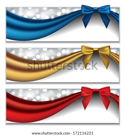 Vector Set of Three Elegant Holidays Banners with Silky Ribbons and Bows in front of Sparkling Lights - stock vector
