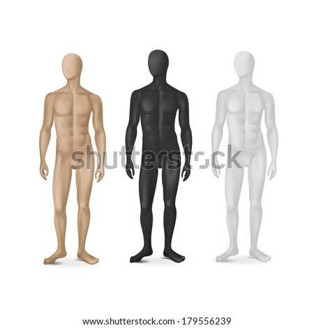 Vector Set of Three Male Mannequins Isolated on White Background - stock vector