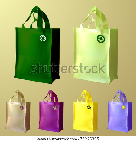 vector set of three reusable shopping bags