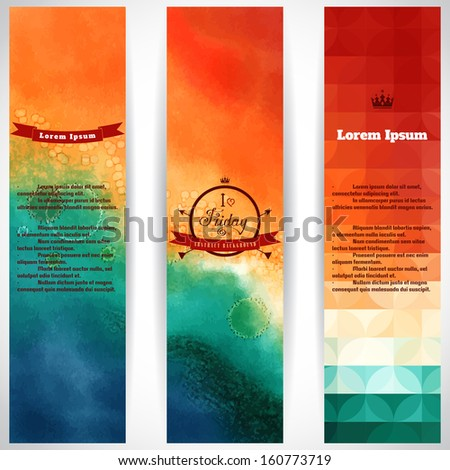 Vector set of three vertical banners. Multicolored watercolor and shapes. Beautiful inscription in retro style - I love Friday. Place for your text.  - stock vector
