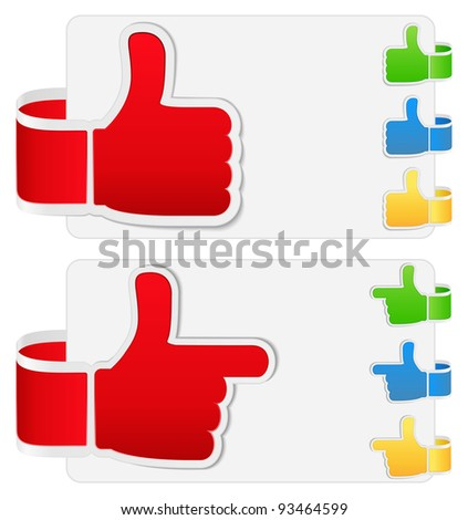 Vector set of thumb up signs - stock vector