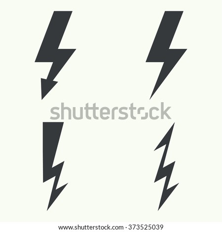Vector set of  thunder lighting icons.  electric lightning. Danger - stock vector