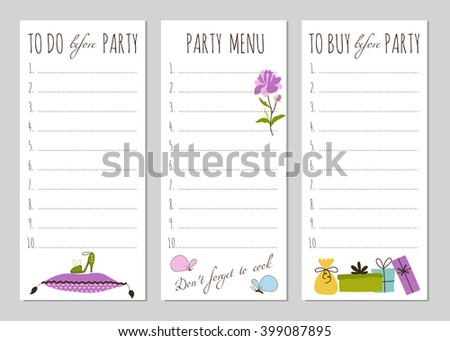 Vector set of to do lists with Princess party elements. Printable cute checklist. For event designs, greeting cards, invitations, gifts decoration, stationery, scrapbooking and other.