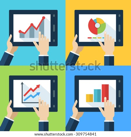 Vector set of touch interfaces, flat diagram and chart on screen. Concept for business, presentation, statistics data, internet technology, stock exchange, finance, strategy, trading, investment fund. - stock vector