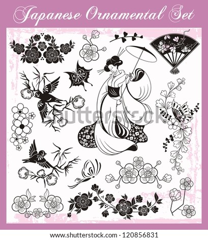 Vector set of traditional Japanese ornaments and oriental decorative designs. - stock vector