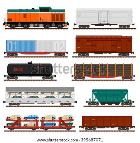 Vector set of Train Cargo Wagons, Tanks, Cars - stock vector