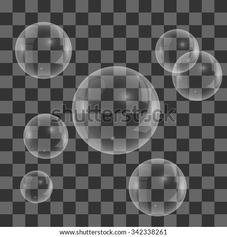 Vector Set of Transparent Soap  Water Bubbles Isolated on Checkered Background - stock vector