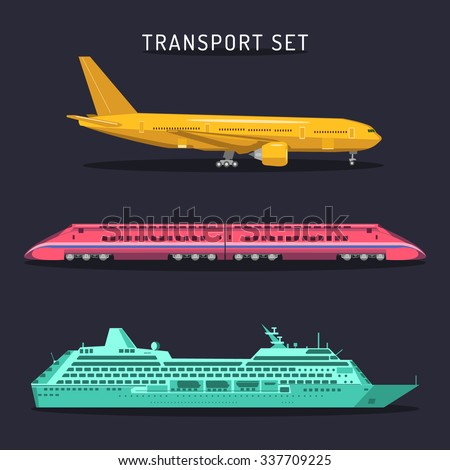 Vector set of transportation icons in flat style. Passenger transport set. Plane, train and ship icons in flat style. Passenger transportation illustrations. Transportation infographics. - stock vector