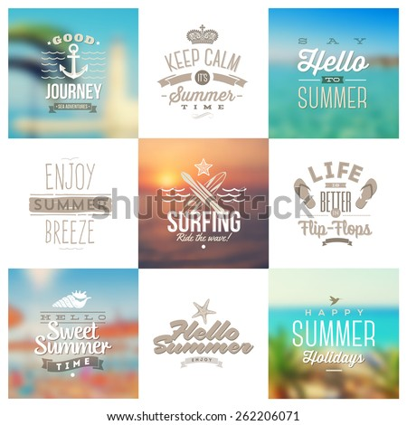 Vector set of travel and vacation type emblems and symbols on a blurred backgrounds - stock vector