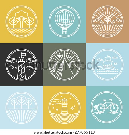 Vector set of travel badges in trendy linear style - nature parks and transport concepts - stock vector
