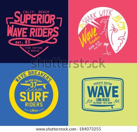 Vector set of travel beach surf emblems and symbols  - stock vector