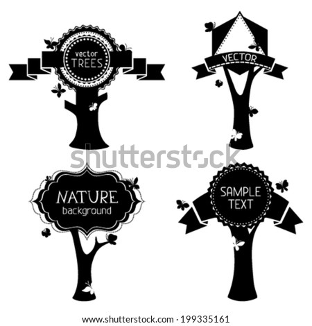 Vector set of trees with labels. Vintage round, triangle and hexagon badges and ribbons. Black design elements isolated on white background. There are places for your text. Editable EPS8 vector. - stock vector