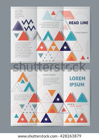 Vector set of tri-fold brochure design template on both sides with abstract background. Science vector background. - stock vector