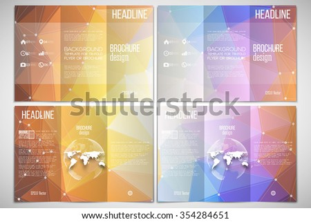 Vector set of tri-fold brochure design template on both sides with world globe element. Abstract multicolored background, digital style vector illustration. - stock vector