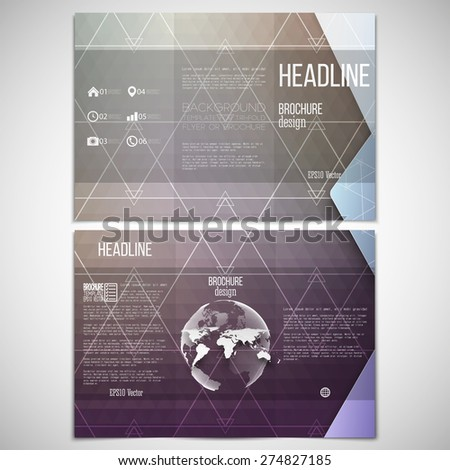 Vector set of tri-fold brochure design template on both sides with world globe element. Colorful geometric background, abstract triangle design pattern vector. - stock vector
