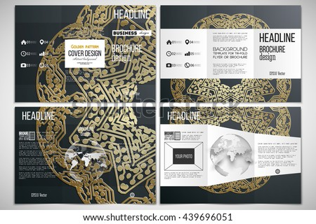 Vector set of tri-fold brochure design template on both sides with world globe element. Golden microchip pattern on dark background, connecting dots and lines, connection structure - stock vector