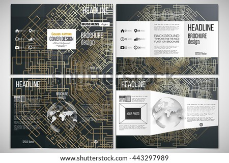 Vector set of tri-fold brochure design template on both sides with world globe element. Golden technology pattern on dark background, connection structure. Digital scientific vector - stock vector