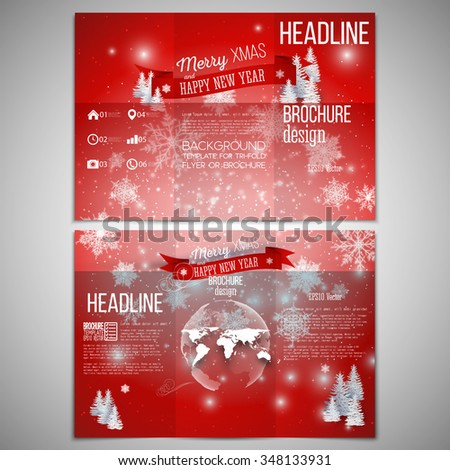 Vector set of tri-fold brochure design template on both sides with world globe element. Merry Christmas and happy New Year vector background. - stock vector