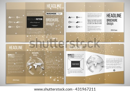 Vector set of tri-fold brochure design template on both sides with world globe element. Polygonal backdrop with connecting dots and lines, golden background, connection structure. Science vector - stock vector