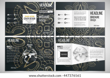 Vector set of tri-fold brochure design template on both sides with world globe element. Polygonal backdrop with golden connecting dots and lines, connection structure. Digital scientific background - stock vector