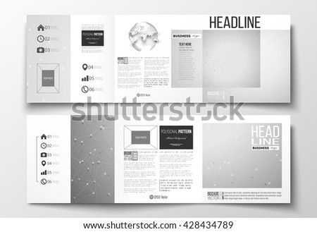 Vector set of tri-fold brochures, square design templates with element of world globe. Molecular construction with connected lines and dots, scientific or digital design pattern on gray background. - stock vector