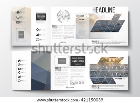 Vector set of tri-fold brochures, square design templates with element of world globe. Polygonal background, blurred image, urban landscape, cityscape, modern stylish triangular vector texture. - stock vector