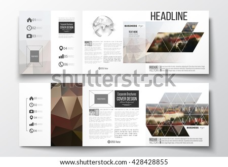Vector set of tri-fold brochures, square design templates with element of world globe. Polygonal background, blurred image, urban landscape, cityscape of Prague, modern triangular texture - stock vector