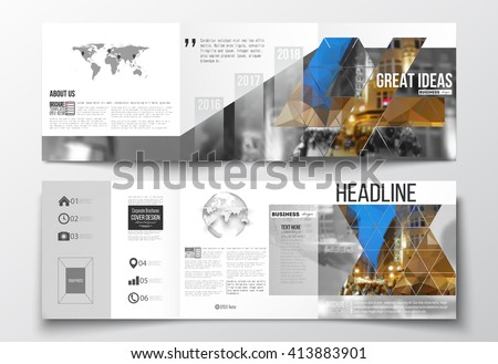 Vector set of tri-fold brochures, square design templates with element of world map and globe. Colorful polygonal background, blurred image, night city landscape, modern triangular vector texture. - stock vector