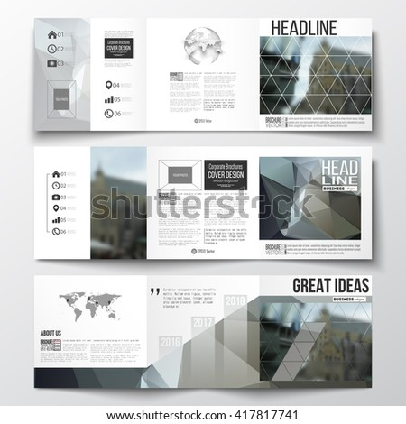Vector set of tri-fold brochures, square design templates with element of world map and globe. Polygonal background, blurred image, urban landscape, modern stylish triangular vector texture. - stock vector