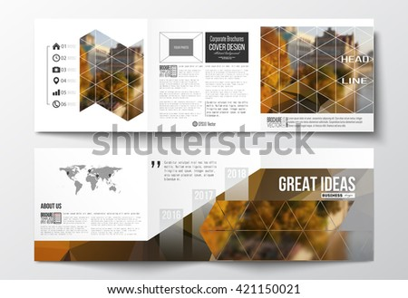 Vector set of tri-fold brochures, square design templates with element of world map. Polygonal background, blurred image, urban landscape, cityscape, modern stylish triangular vector texture. - stock vector