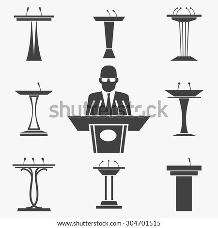 Vector set of tribunes icons. Presentation and speaker, speech and conference, podium and rostrum, microphone illustration - stock vector