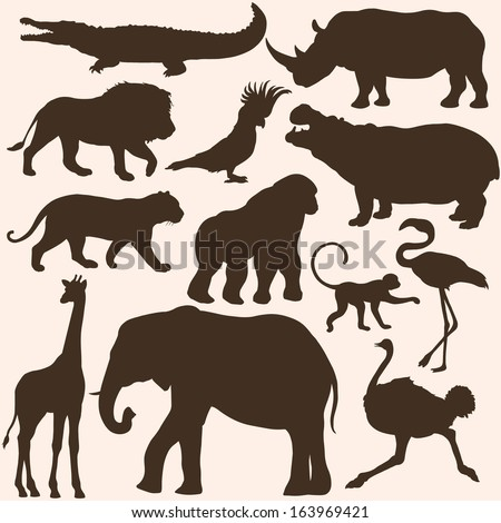 vector set of tropical animals silhouettes