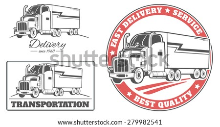 Vector set of truck delivery labels and logos. - stock vector