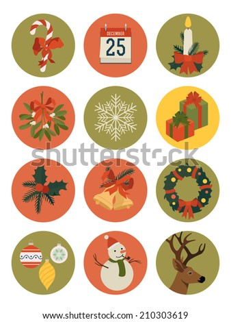 Vector set of twelve christmas themed circle shaped icons | Everything for christmas design | Xmas decoration icons: mistletoe, stocking, gift boxes, calendar, stick candy, wreath, bells and more - stock vector